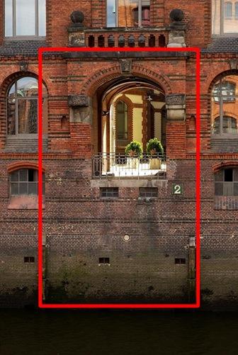 Rot markiert der Bereich, den ein DX-Sensor sieht, gegenüber dem FX-Format