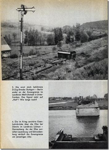 Eine Bahnstrecke endet mitten auf der Strecke und die Brücke über den Fluss ist weg