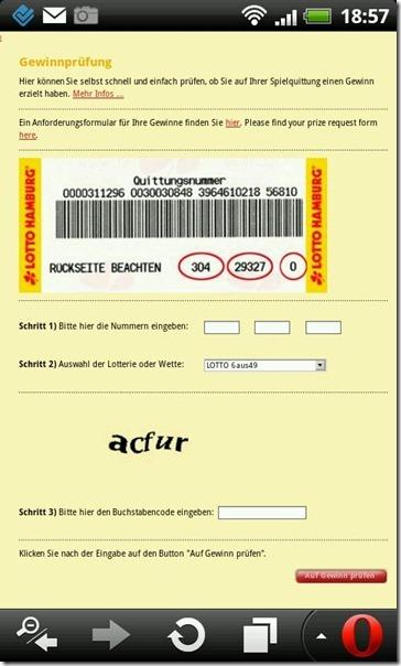Screenshot Gewinnprüfungsseite Lotto HH