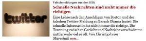 Screenshot von Tagesspiegel Online, 26. April 2013: Bild  Twitter-Logo, Anreißer über angebliches Attentat auf Obama