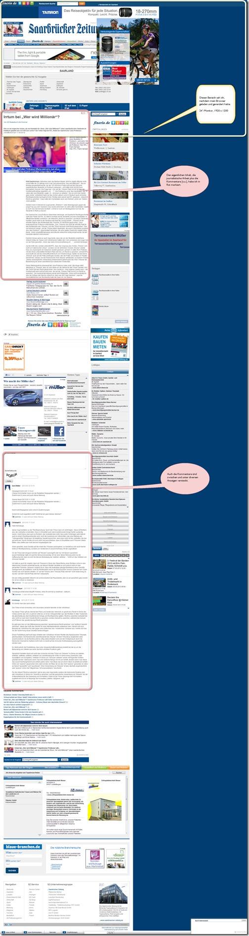 Design-Desaster durch Werbung bei der Saarbrücker Zeitung