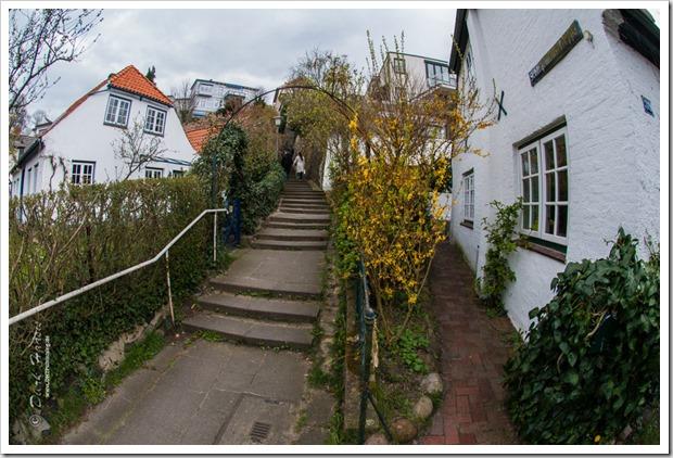 Zwichen den kleinen weißen Häusern Hamburg-Blankeneses schängeln sich Treppen