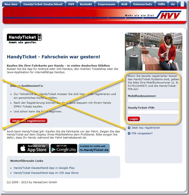 Login für HandyTicket im HVV [direkt verlinkt]