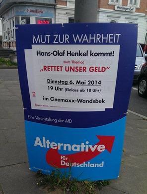 Hans-Olaf Henkel kommt nach Wandsbek und die AfD fordert ihre Sympathisanten auf 'Rettet unser Geld'