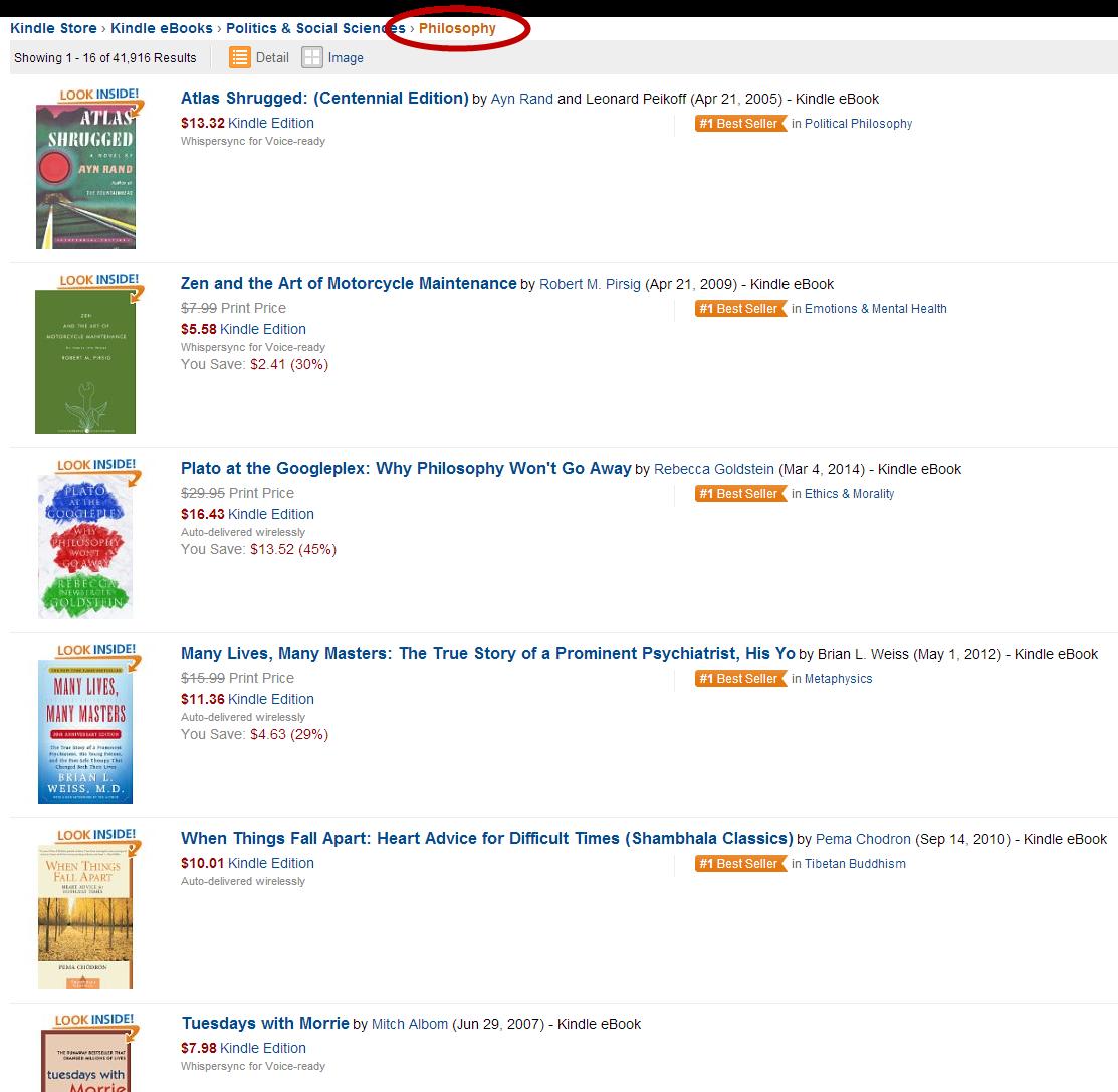 Amazon US Suche zu Philosophie ergibt auf den ersten sechs Plätzen nur populären Quatsch