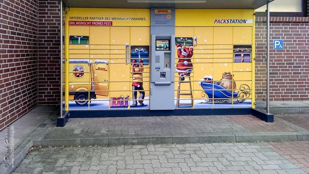 DHL Packstation bei ALDI, Kieler Strasse 555 - immer noch schwer nutzbar für Gehbehinderte.