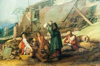 Abraham Bloemaert, Landschaft mit Gehöft: Pause auf dem Hof