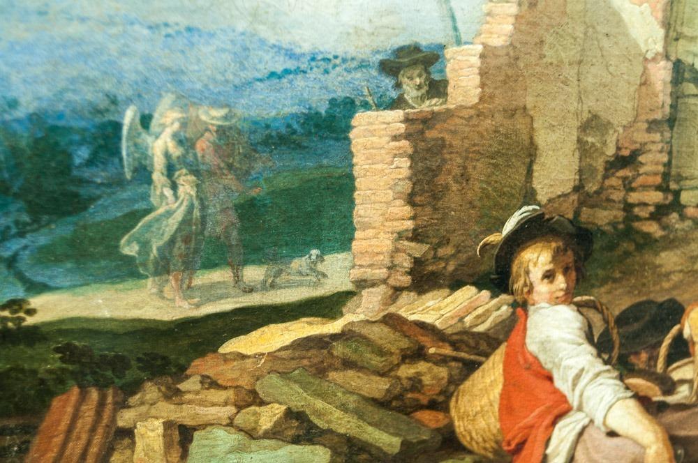 Abraham Bloemaert, Landschaft mit Gehöft: Figuren, u.a. Engel, in der Landschaft
