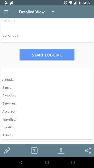 Startbildschirm von GPS Logger in detaillierter Ansicht