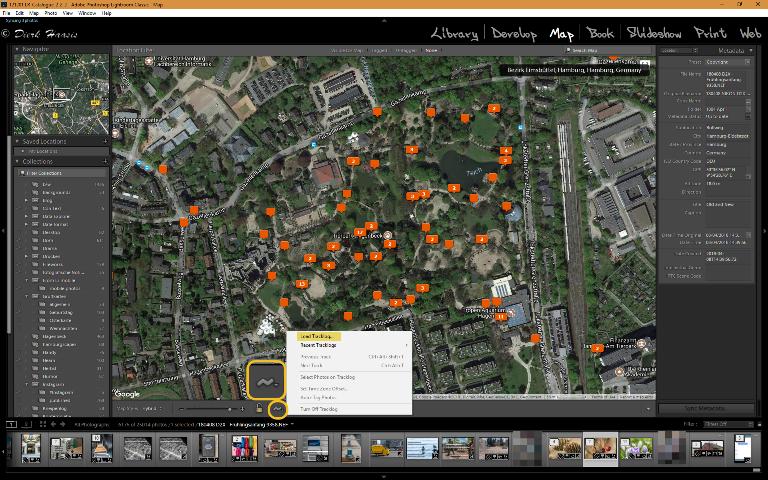 Adobe Lightroom Map-Modul: Der Button mit dem Zickzack ruft das Tracklog-Menu auf