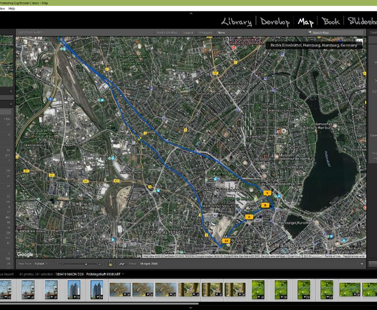 Adobe Lightroom Map-Modul: Geladener Track sichtbar auf der Karte, Fotos automatisch zugeordnet