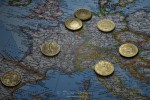 Europe with 50 Cents EURO coins from 7 countries